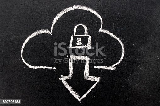 istock White chalk drawing in cloud with download arrow and lock shape on black board background 890703488