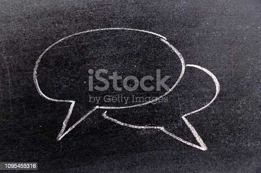 istock White chalk hand drawing in bubble speech shape with blank space for add text on black board background 1095455316