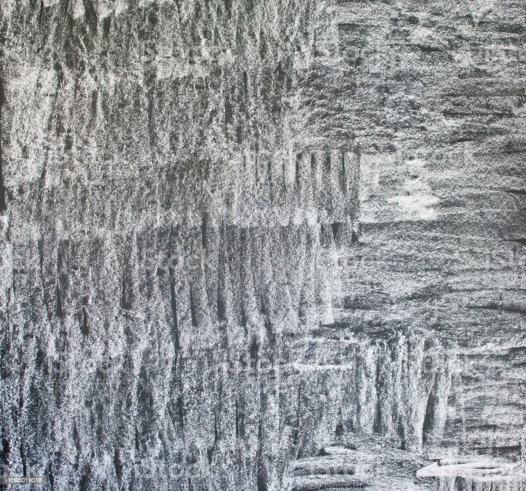 White chalk texture with smudges on blackboard. Abstract chalk...
