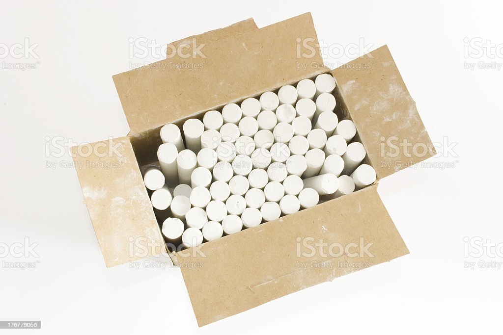 White chalks in a box royalty-free stock photo