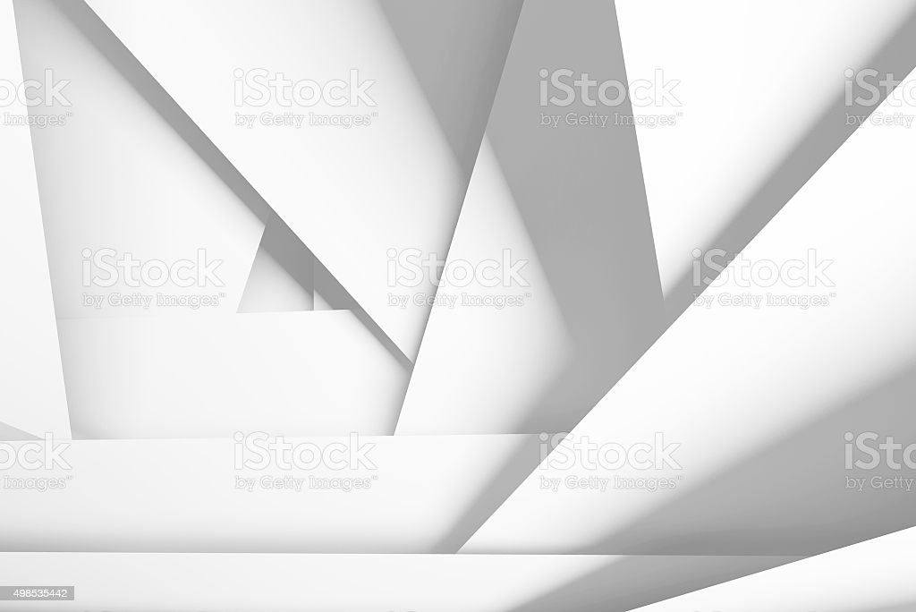 White chaotic multi layered planes, 3d illustration stock photo