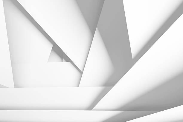 weiße chaotisch mehreren lagen flugzeuge, 3d-illustration - winkel stock-fotos und bilder