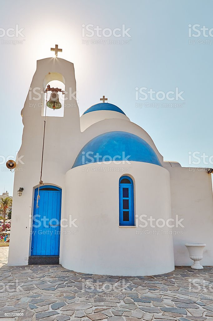 White chapel on a shore near Protaras, Cyprus stock photo