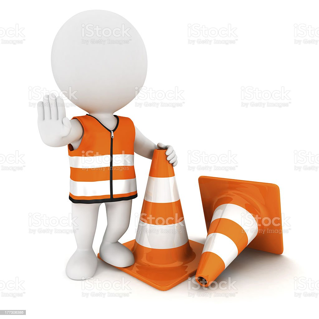 3D white character signing stop with some orange cones royalty-free stock photo