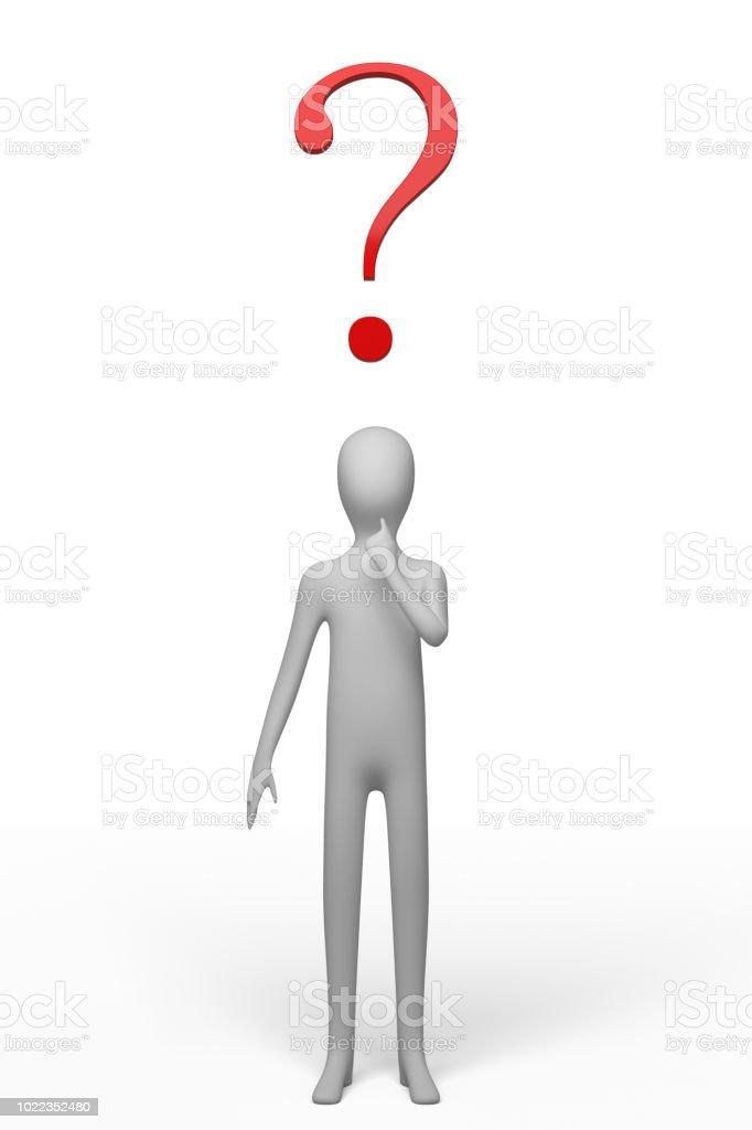 Blanco pie de personaje en una pose dudando, con un signo de interrogación rojo en la cabeza - foto de stock