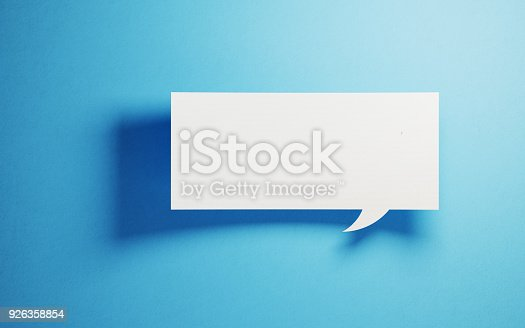 istock White Chat Bubble On Blue Background 926358854
