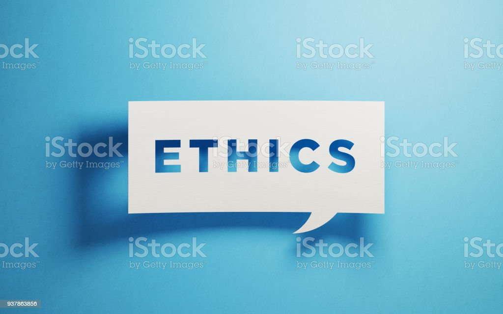 White chat bubble on blue background. Ethics writes on chat bubble....
