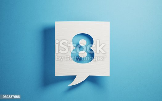 White chat bubble on  blue background. Number eight writes on chat bubble. Horizontal composition with copy space.