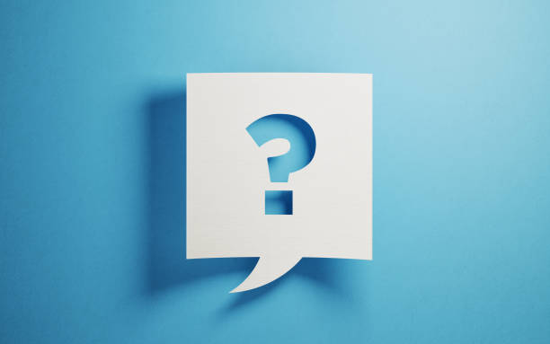 White Chat Bubble On Blue Background White chat bubble on  blue background. There is a question mark symbol  on chat bubble. Horizontal composition with copy space. ambiguity stock pictures, royalty-free photos & images
