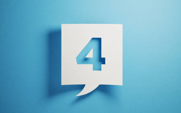 White Chat Bubble On Blue Background White chat bubble on  blue background. Number four writes on chat bubble. Horizontal composition with copy space. number 4 stock pictures, royalty-free photos & images