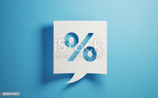 White chat bubble on  blue background. There is percentage symbol  on chat bubble. Horizontal composition with copy space.