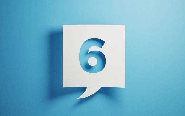 white chat bubble on blue background - number 6 stock photos and pictures