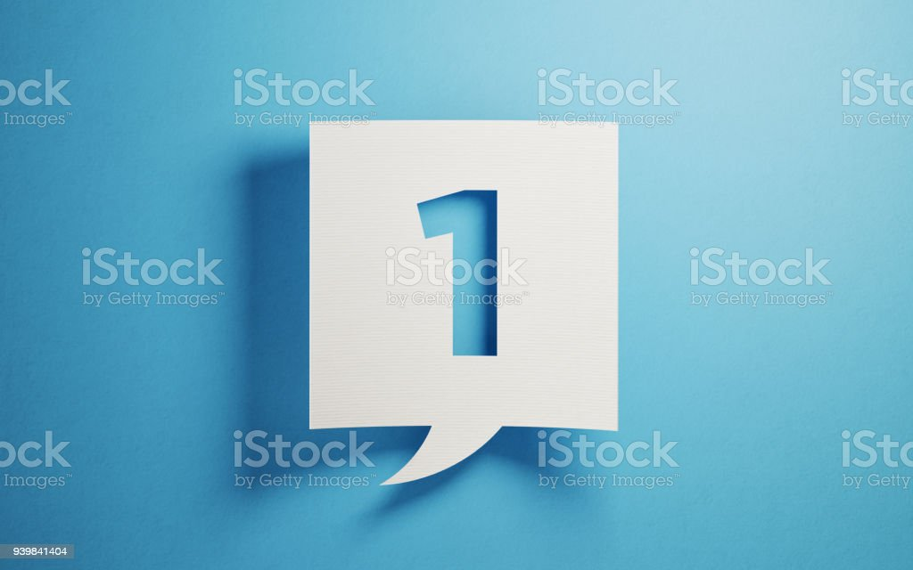 White Chat Bubble On Blue Background stock photo