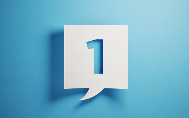 white chat bubble on blue background - number 1 stock pictures, royalty-free photos & images