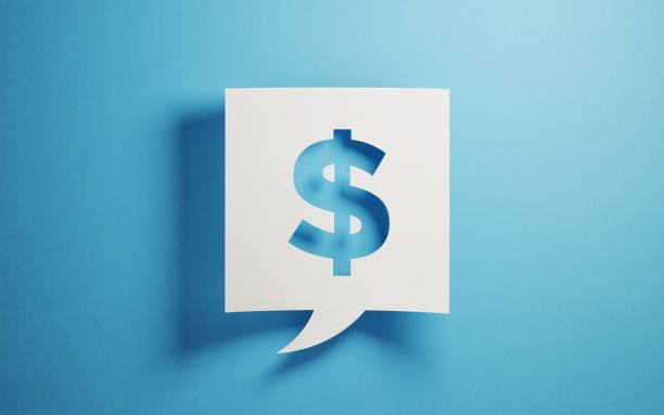 white chat bubble on blue background - dollar sign stock photos and pictures