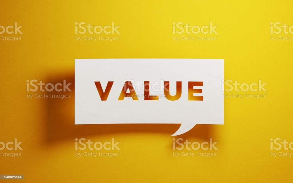 White Chat Bubble Over Yellow Background stock photo