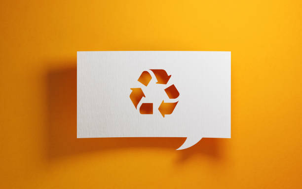 white chat bubble over yellow background - recycling symbol stock photos and pictures