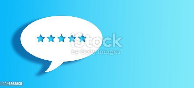 5 star shape on white talking bubbles on bu gradient background
