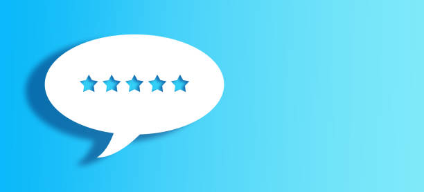 White Chat Bubble With Cut Out 5 star Shape Over Blue Background stock photo