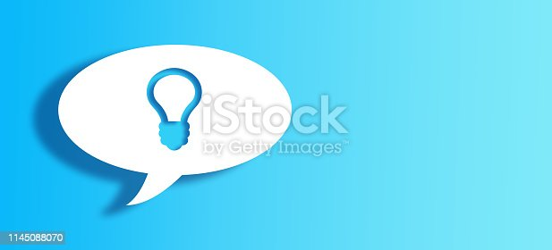 istock White Chat Bubble With Cut Out bulb Shape Over Blue Background 1145088070