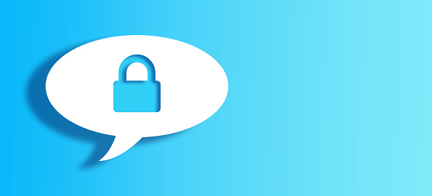 921154250 istock photo White Chat Bubble With Cut Out lock Shape Over Blue Background 1145088379