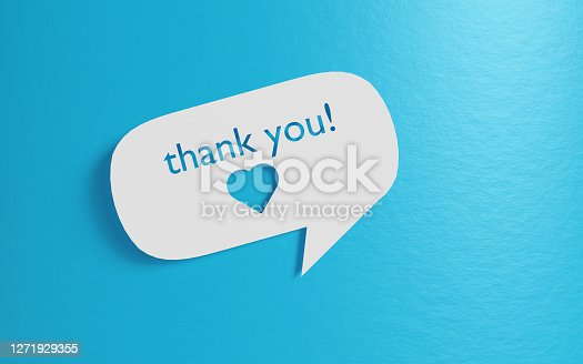 White chat bubble with cut out thank you message and heart shape over blue background. Easy to crop for all your social media and print sizes with copy space.