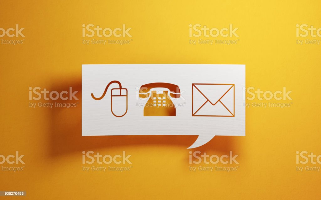 White Chat Bubble With Various Contact Us Symbols On Yellow