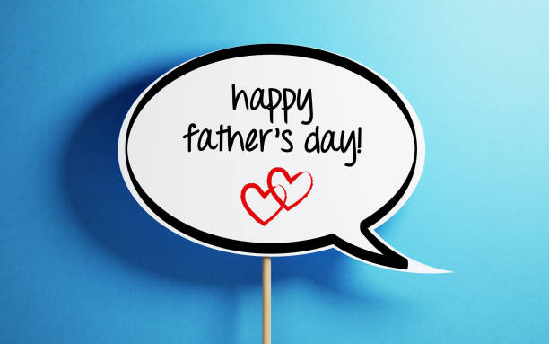 white chat bubble with wooden stick on blue background - fathers day stock photos and pictures