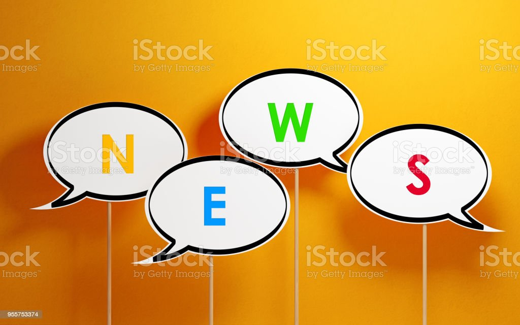 White chat bubbles with wooden sticks on yellow background. News...
