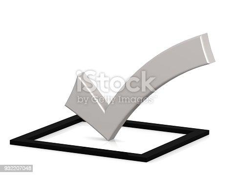 istock White check mark on black square, 932207048