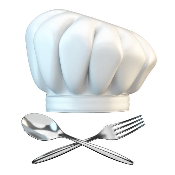 White chef hat with spoon and fork 3D stock photo