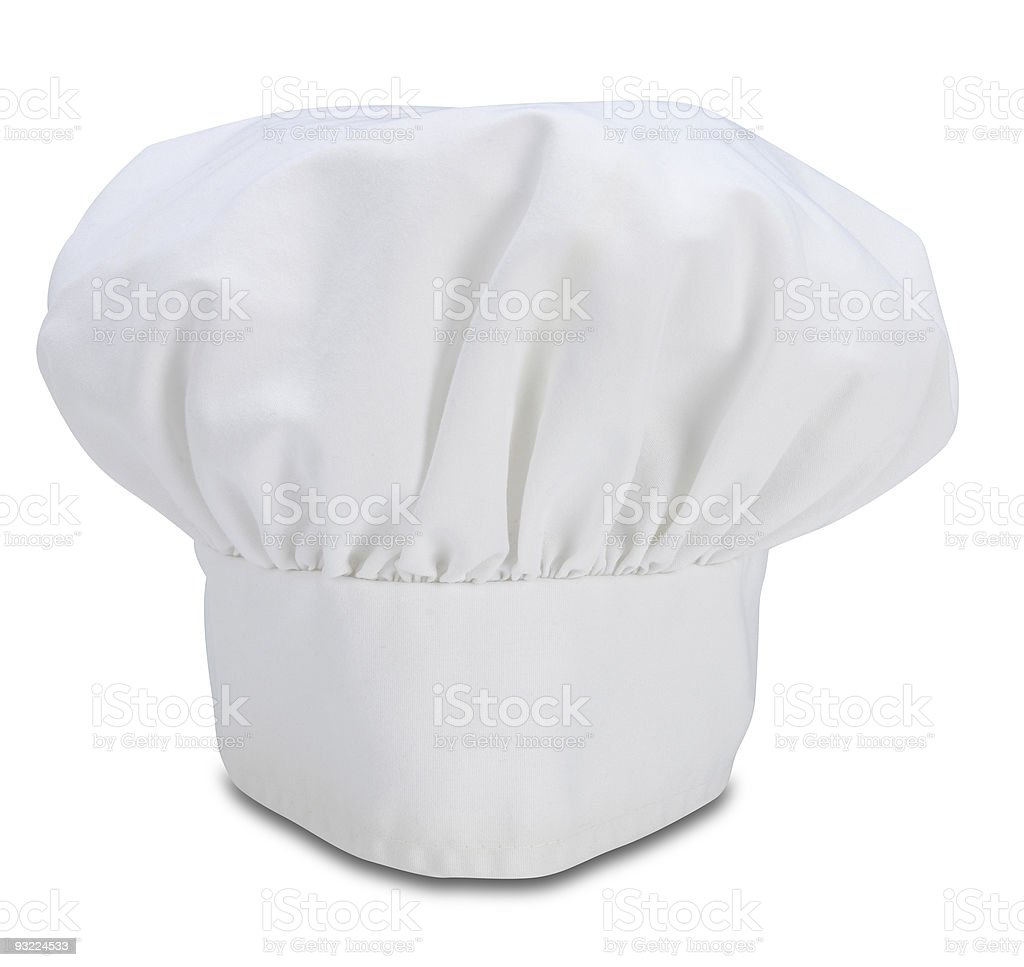 A white chefs hat called a Toque stock photo