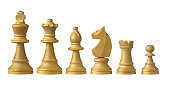 white wooden chess, isolated on white background