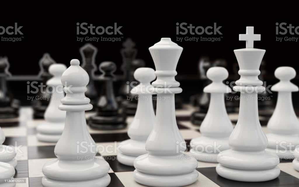 White chess pieces extremely close up stock photo
