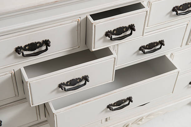 white chest of drawers stock photo