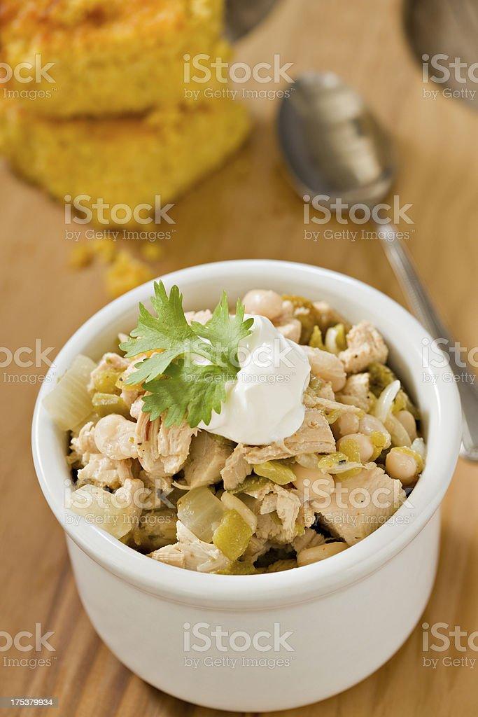 White Chicken Chili and Cornbread stock photo