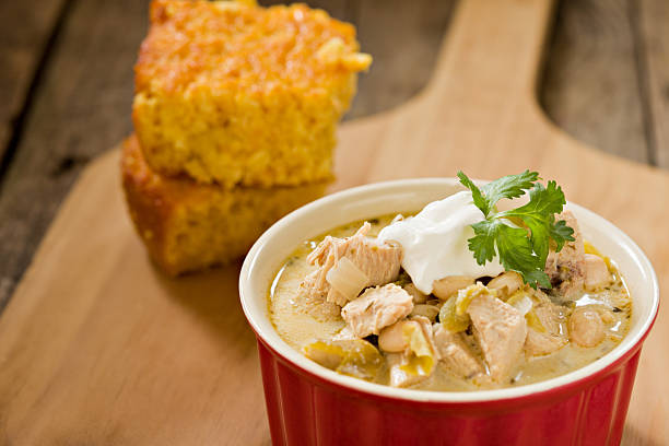 white chicken chili - chilli stock photos and pictures