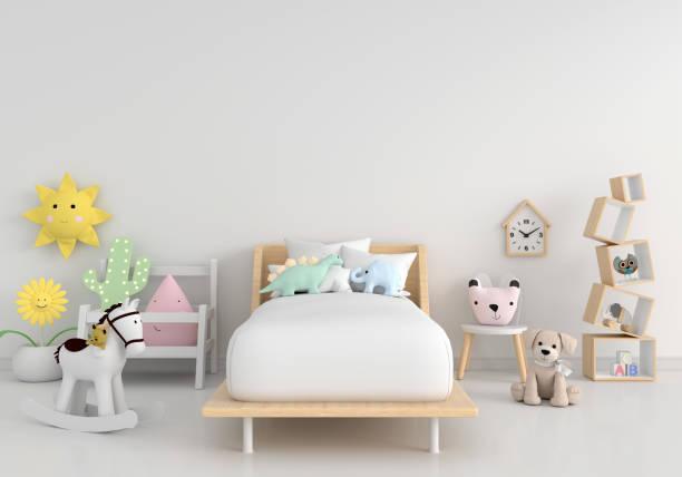 interior kamar anak putih dengan ruang fotokopi, rendering 3d - bed room potret stok, foto, & gambar bebas royalti