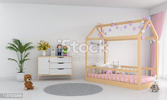 1213866189 istock photo White children bedroom interior, 3D rendering 1137023359