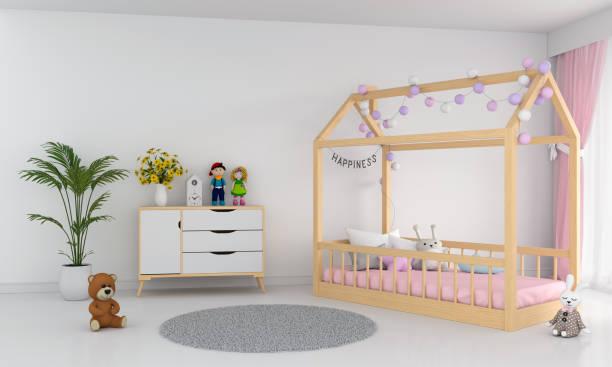 weiße kinder schlafzimmer innenraum, 3d-rendering - mädchenraum vorhänge stock-fotos und bilder