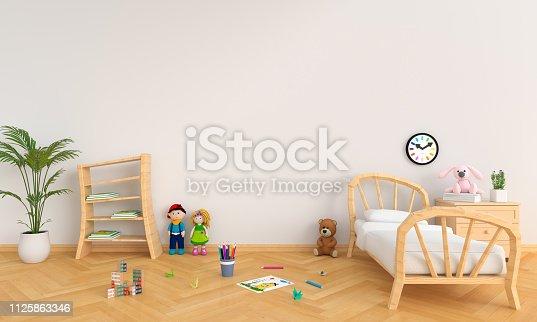 istock White children room interior for mockup, 3D rendering 1125863346
