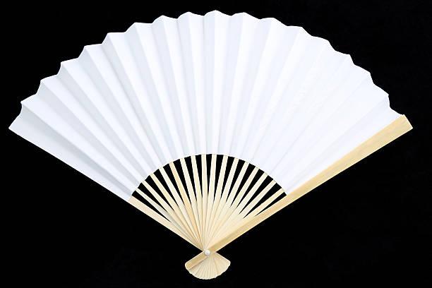 white chinesischen faltbarer fächer - japanischer fächer stock-fotos und bilder
