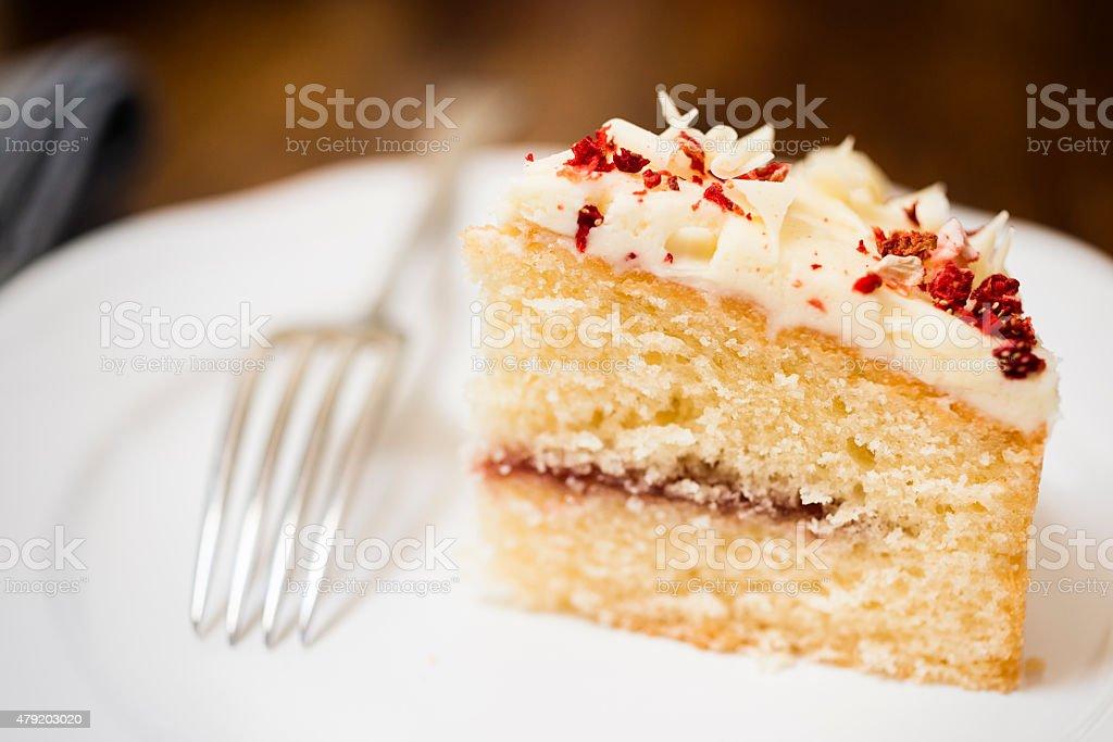 White Chocolate and Raspberry Cake stock photo