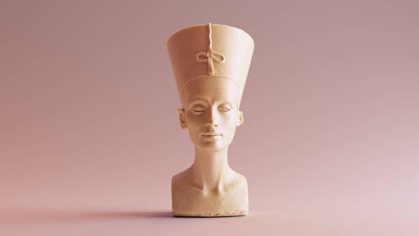 vit choklad bysten av nefertiti - ancient white background bildbanksfoton och bilder