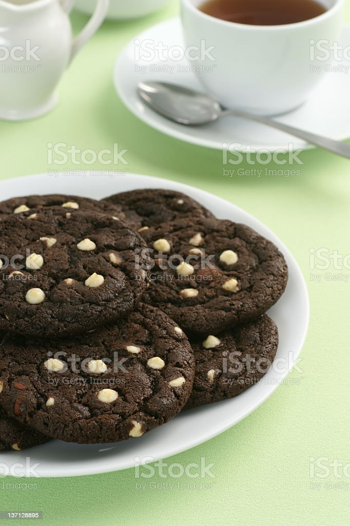 White Chocolate Chip Cookies and Tea royalty-free stock photo