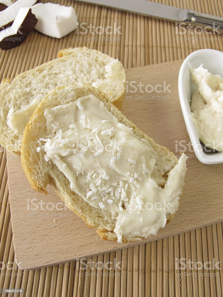 White chocolate cream with coconut on bread royalty-free stock photo