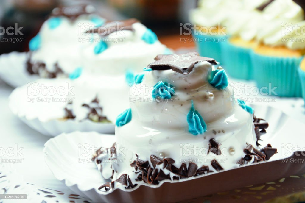 White Chocolate Cup Cake stock photo