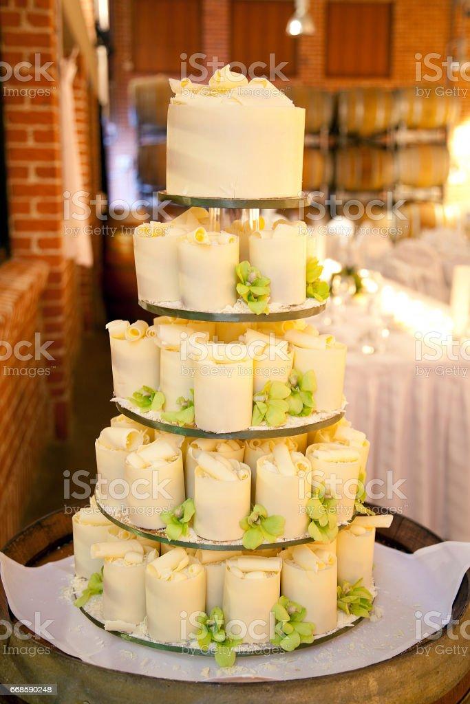 White Chocolate Mini Wedding Cake With Green Flowers Stock Photo ...