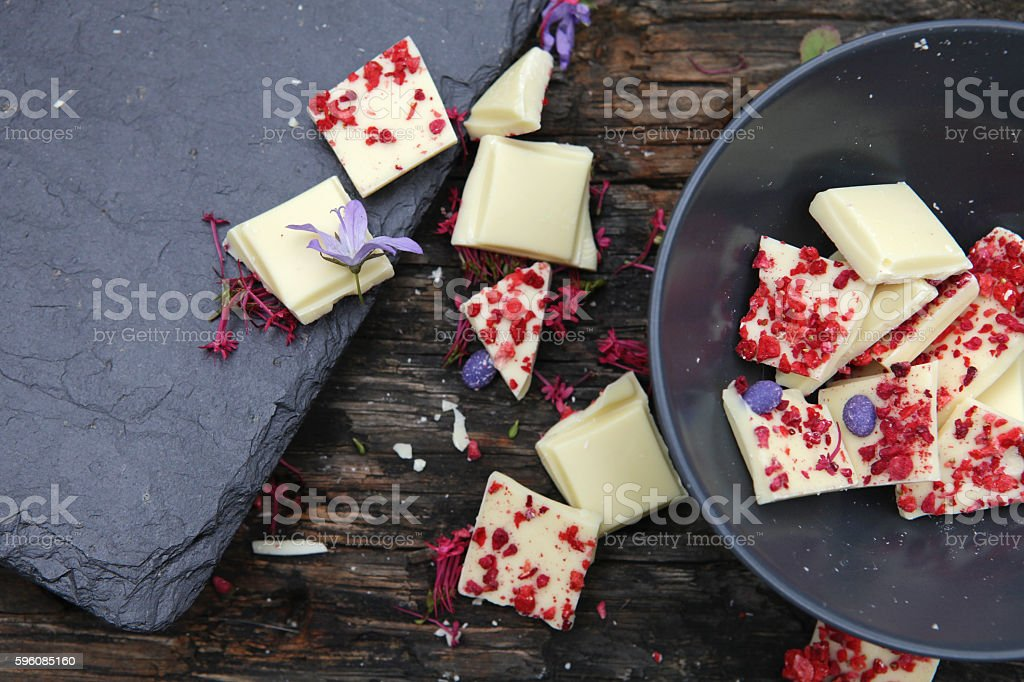 White chocolate with raspberries and lavender royalty-free stock photo