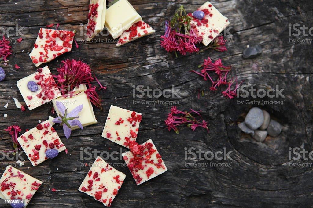 White chocolate with raspberries royalty-free stock photo